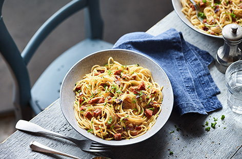 Chorizo and grated courgette spaghetti