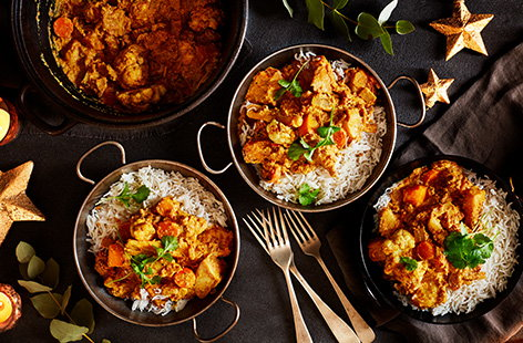 Enjoy a festive twist on a traditional Indian korma by adding your leftover Christmas veg to the pot.