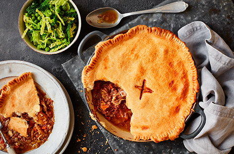 For retro-inspired comfort food, try this corned beef pie recipe. This comforting pie is topped with buttery shortcrust pastry and ready in under 45 mins for a wallet-friendly meal.