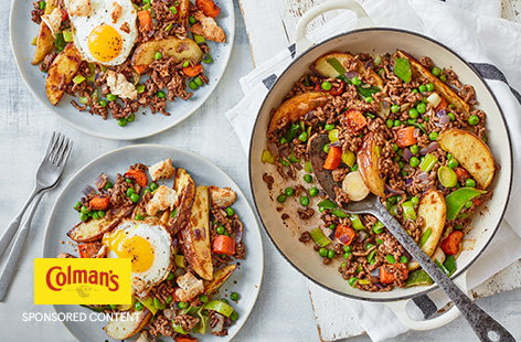 This innovative take on the traditional cottage pie is a nice way to mix things up at the dinner table. Try it out for yourself with crispy roast potato wedges, herby mince and plenty of veg all topped with a fried egg.