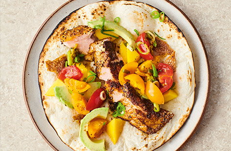 The faithful salmon fillet is made front and centre in Jamie Oliver's recipe for crispy salmon tacos