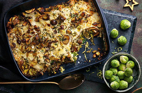 Use up leftover sprouts in this easy cheesy dinner – perfectly designed for Boxing Day