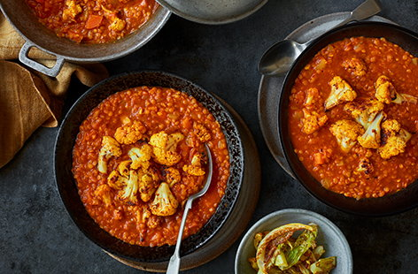 Red lentil and cauliflower dhal