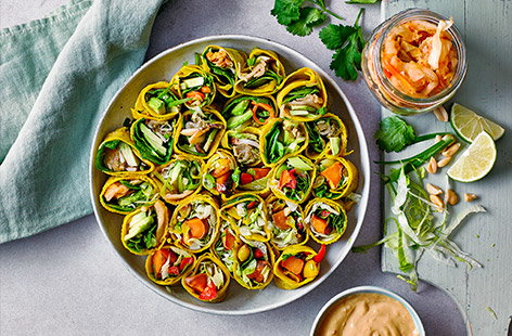 These colourful turmeric and coconut wraps make a great base for your favourite fillings