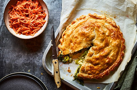 Giant cheesy leek pasty