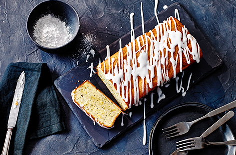 Make this gluten-free lemon drizzle cake recipe (made using gluten-free flour and ground almonds), studded with poppyseeds and finished with a drizzle of tangy lemon icing, for an easy afternoon tea bake.