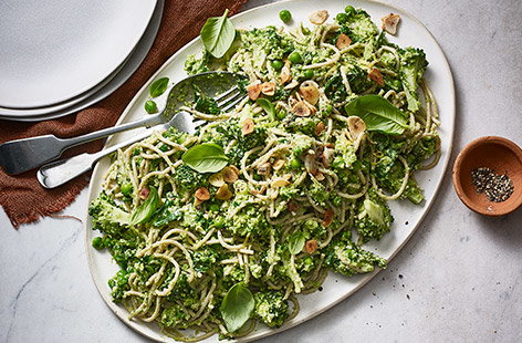 Easy, speedy and delicious, this simple pasta recipe crams in three different types of green veg to make a healthy midweek meal