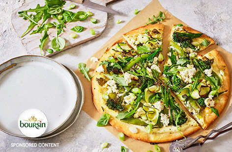 Next time you are craving pizza, make these cheesy green goddess pizzas. Creamy Boursin garlic & herbs cheese makes a super simple pizza sauce, topped with plenty of fresh green veg and a scattering of extra cheese to finish.