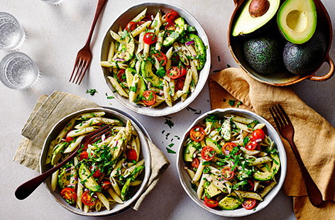 Need a new pasta idea? Channel all the flavours of guacamole into this quick pasta recipe with creamy avocado, tomatoes, lime and coriander - all ready in just 15 mins.