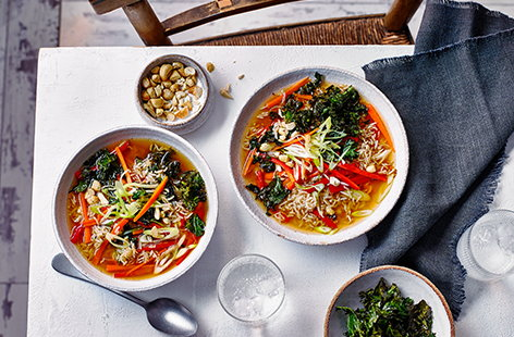 Tuck into this Japanese-style bowl of brown rice with colourful vegetables and a light miso broth.