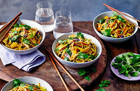 Throw together this super speedy vegetable katsu stir-fry in just 20 minutes. Combining Japanese katsu curry sauce with egg noodles, fresh spinach and vegetables, it's a healthy midweek meal that's also dairy-free.