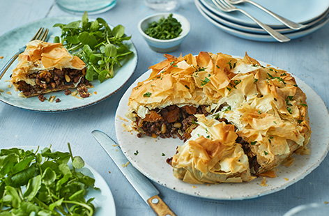 This is a great Moroccan-inspired pie to bring out for dinner parties and weekend lunches when entertaining friends and family. Beautifully spiced lamb mince, apricots, toasted pine nuts and parsley are encased in buttery filo pastry. A sure-fire winner.