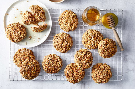 With hidden fruit and veg to boot, these breakfast cookies also double up as a mid-morning snack – the kids will love them!