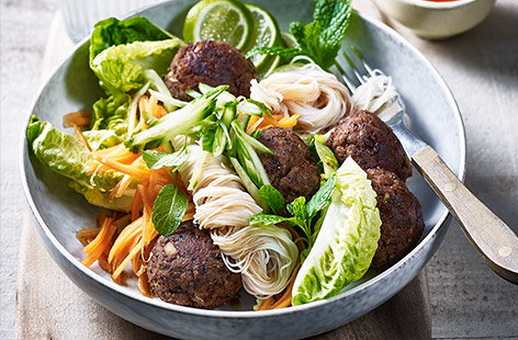 Kidney beans are the essential ingredient in this protein-packed recipe for meatball noodle bowls
