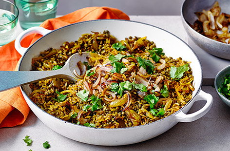 Mejadra is a fragrant pilaf-style dish popular in the eastern Mediterranean and Middle East, made with lentils, spices and fried onions