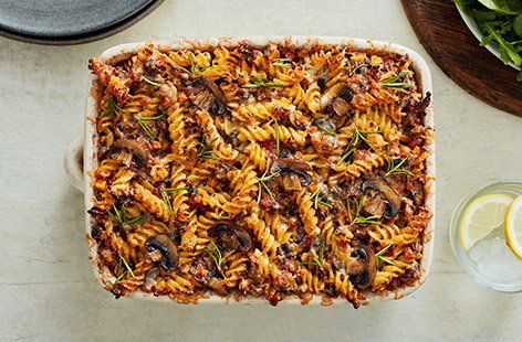 For an easy weeknight dinner idea, try a tasty pasta bake recipe with fish, meat or veg.