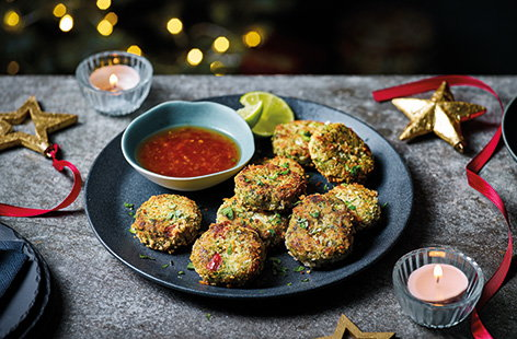 Add some Thai-inspired flavours to your Christmas party with these simple mini crab cakes, served with a tangy lime and sweet chilli sauce. Totally dairy- and gluten-free, these use tinned crab loaded with chilli, ginger and coriander for a quick canapé.