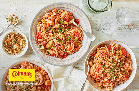 Colman's spaghetti Bolognese recipe mix is the secret ingredient in this easy-as-it-gets mixed bean Bolognese. This is a hearty veggie twist on an Italian classic and sure to please everyone come dinner time.