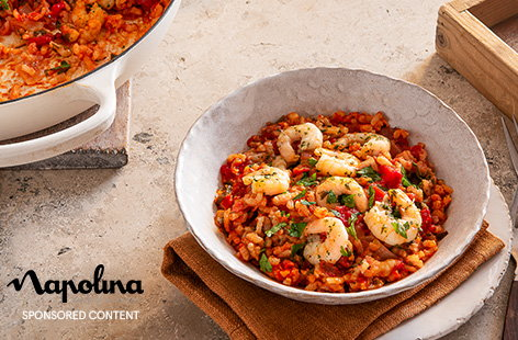 Try this twist on a risotto for an easy but impressive dinner, made with just 5-ingredients. Risotto rice is baked with juicy tinned tomatoes and plenty of fragrant marinated lemon and herb prawns for a stress-free dinner.