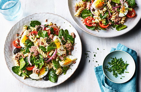 Take all the makings of this classic French salad and toss it with some fusilli pasta for an ideal addition to your midweek meal rotation