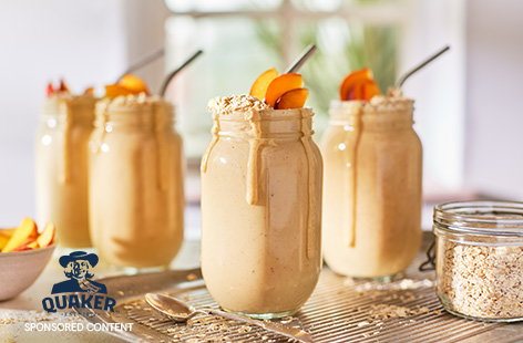 Blitz up a summer smoothie with this easy peach and oat smoothie recipe. Made with almond milk and vanilla yogurt for a vegan treat, blitz this together in 5 mins for a quick breakfast or afternoon treat.
