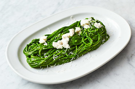 This super speedy supper is so fun to make, and a great way to transform hardy greens into a deliciously silky pasta sauce. So simple, but, boy, is it good