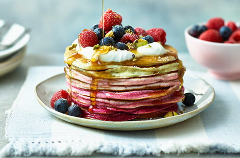 These blushing breakfast pancakes will leave you tickled pink on Shrove Tuesday with their fun ombré colours