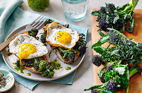 Roasting this distinctly colourful broccoli gives it a nutty and earthy flavour which combines perfectly with a light dressing and crunchy sourdough