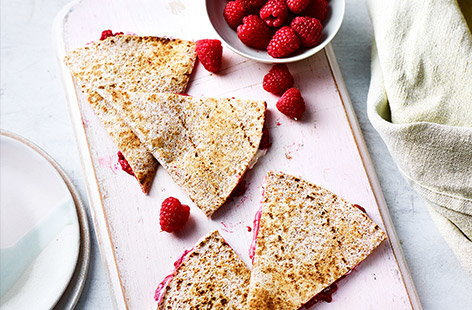 This simple recipe for raspberry quesadillas is good for younger kids, who'll enjoy crushing, spreading and folding