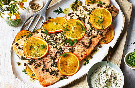 Roast a side of salmon with fresh orange slices for a perfect complement to the subtle flavour of your fish