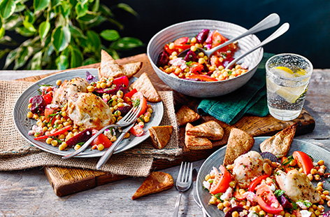 For a roast chicken dinner midweek, try this crispy roast chicken thighs recipe with a warm beetroot and chickpea salad. Beetroot, chickpeas, tomatoes, peppers and crumbled cheese are tossed in the warm chicken juices for a colourful salad.