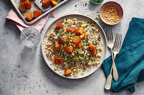 This colourful roasted squash and chickpea pilaf is a filling winter meal