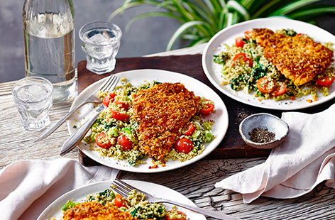 This spiced chicken escalope recipe gives a classic a new twist by adding a harissa coating underneath the crispy breadcrumbs. Serve with a colourful, veg-filled couscous salad for a 30 minute healthy recipe idea.