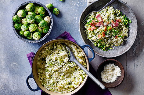 These mini brassicas pair perfectly with smoked streaky bacon and add a great nutty flavour to this rich and creamy risotto