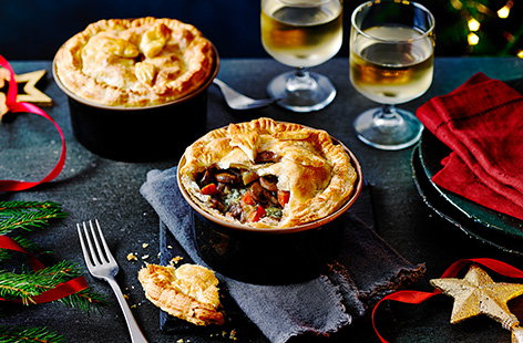 If you're having Christmas for two this year, swap out the turkey for these Christmas vegetable and Stilton pies. These festive pies make a perfect vegetarian Christmas main for a smaller Christmas, loaded with carrots, parsnips and melting cheese.