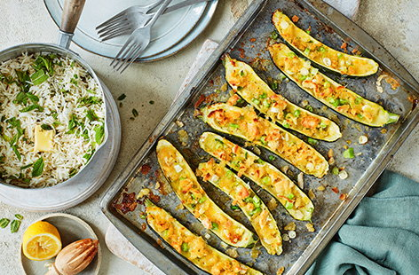 Stuffed courgettes with mint rice
