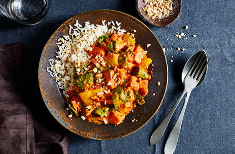 All you need is massaman curry paste and couple of store cupboard ingredients to make this fiery veggie sweet potato and peanut massaman curry