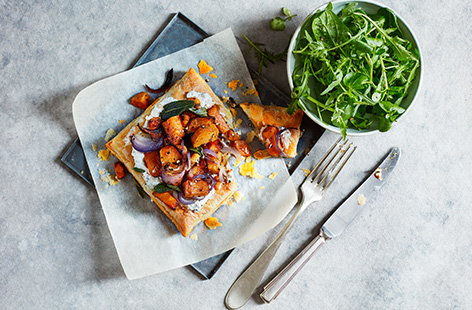 Sweet potato and sage are an awesome combination, and this savoury tart is a great way to treat yourself to that duo at dinner time
