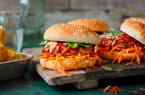 Grab a tin of spicy taco mixed beans and turn them into a simple veggie dinner with this taco bean burgers recipe. Top the burgers with melting cheese and serve with crisp grated carrot and sweetcorn for a veg-packed meal.