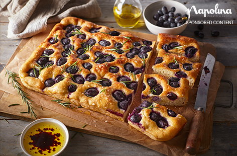 This gorgeous focaccia is studded with juicy black grapes, which add a pop of colour and bags of flavour