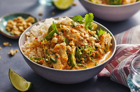 This Thai-inspired red fish curry pairs a kick of spice from the curry paste with the freshness of coriander and lime