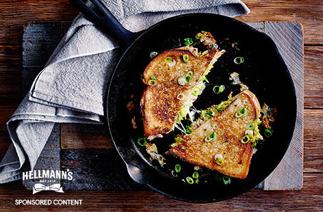 Tuna melt toastie with Brussels sprouts