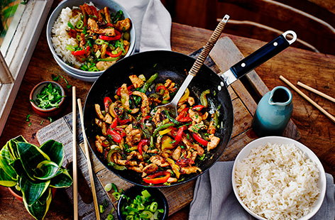 Whip up a healthy dinner in just 20 minutes with this quick turkey stir-fry recipe. Turkey, peppers and spring onions are quickly cooked with sticky soy, honey and garlic for an easy midweek meal idea.