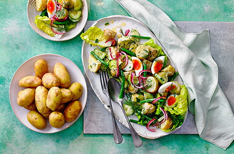 The perfect salad potato, Jersey Royals hold their shape well when cooked, are bite-sized and taste great hot or cold
