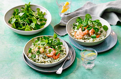 A light lunch perfect for al fresco dining, this watercress and prawn risotto is ready in just 20 minutes