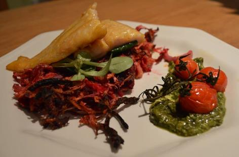 Pan seared Smoked River Cobbler on a bed of Celeriac, Beetroot and Red Onion Rosti, hand finished with fresh watercress, roasted vine tomatoes and homemade green pesto.