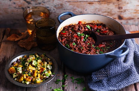 South American chilli with charred corn salsa