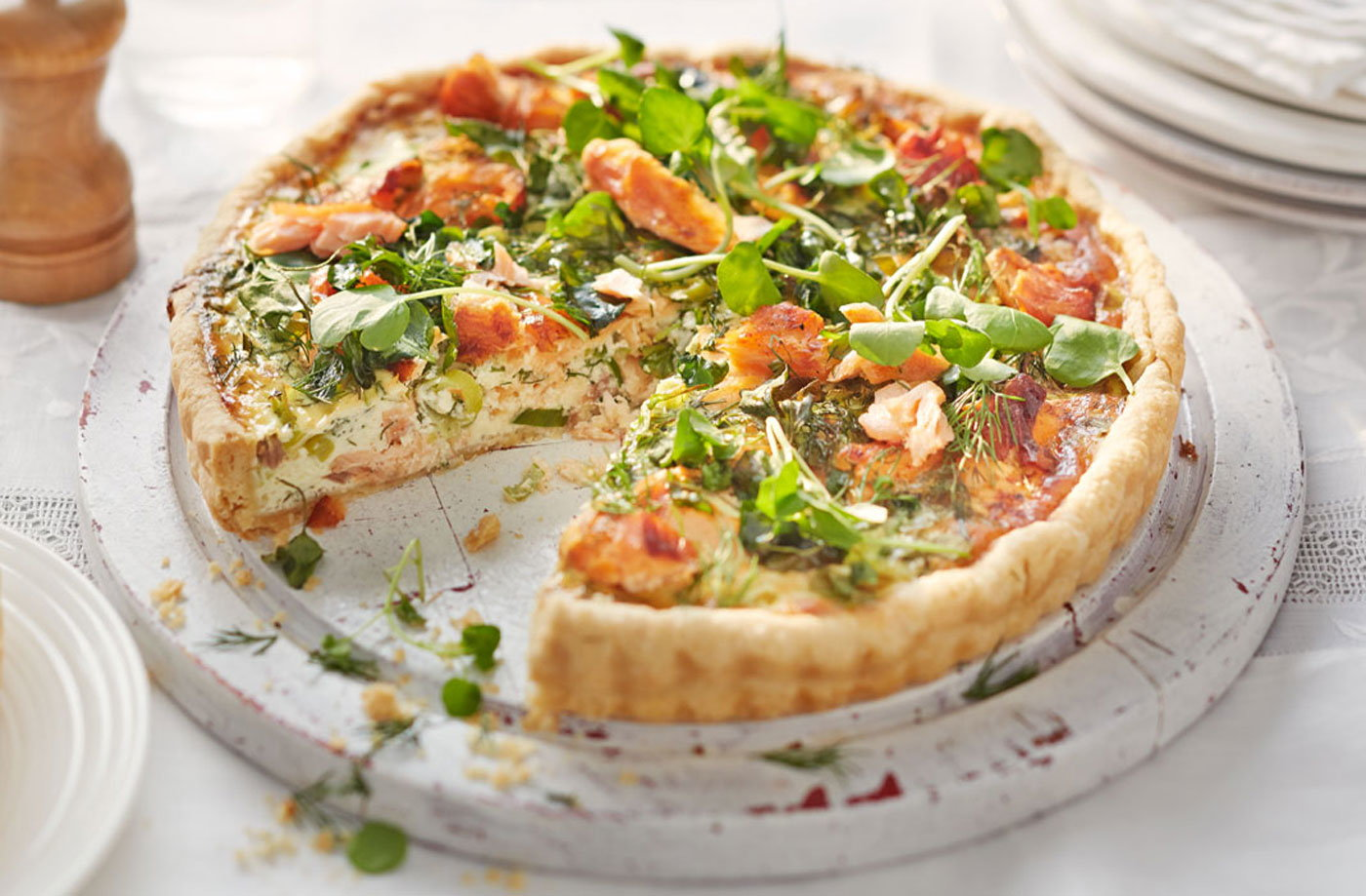 Salmon and spring onion tart recipe