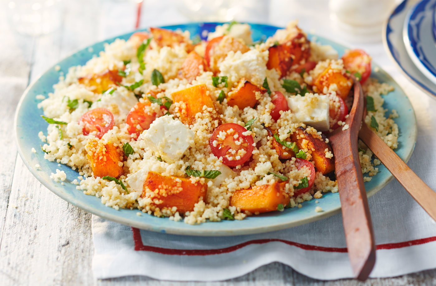 Piri piri squash, feta and couscous salad recipe