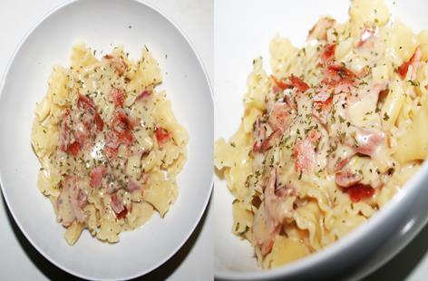 Bacon and blue cheese pasta.